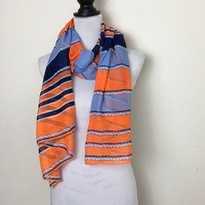 NWOT Blue/Orange/White Nautical Rope Print Scarf